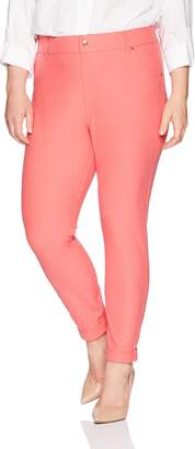 Hue Women's Essential Denim Skimmer Leggings, Cuffed Hem-Tart Pink, L
