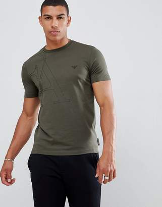 Emporio Armani large graphic logo t-shirt in khaki