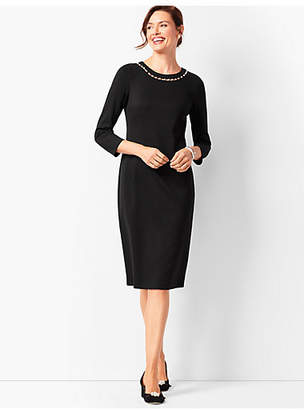 Talbots Pearl-Trim Ponte Dress