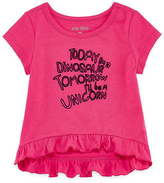 Okie Dokie Short Sleeve Ruffle Graphic T-Shirt-Baby Girl NB-24M