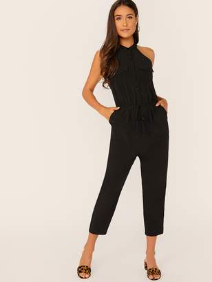 Shein Buttoned Pocket Patched Drawstring Waist Jumpsuit