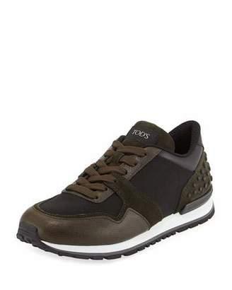 Tod's Men's Nylon & Leather Trainer Sneakers, Black/Green