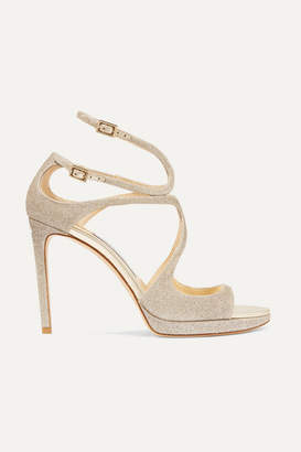 Jimmy Choo Lance 100 Glittered Leather Platform Sandals - Platinum