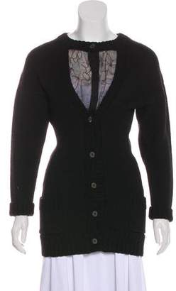 Nina Ricci Wool Silk-Paneled Cardigan