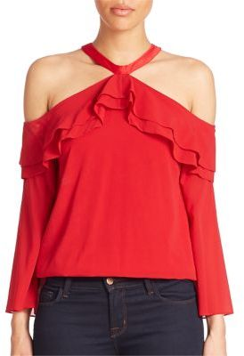 Alice + Olivia Layla Cold-Shoulder Ruffle Top $295 thestylecure.com