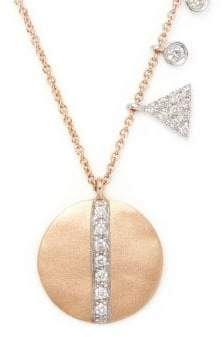 Meira T Disc Diamond and 14K Rose Gold Pendant Necklace