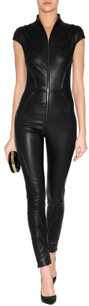 Jitrois Leather Kinsky Jumpsuit in Black