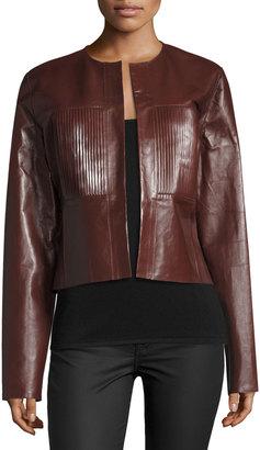 Joseph Nim Collarless Coated Leather Jacket, Mahogany $628 thestylecure.com