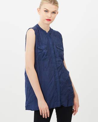 Crinkled Sleeveless Mandarin Collar Silk Shirt