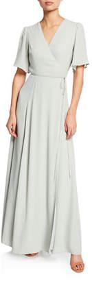 WAYF The Aurelia Short-Sleeve Wrap Gown