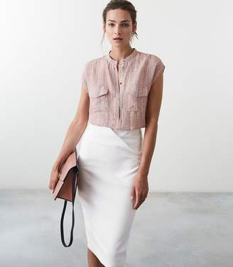 Reiss Arabella Printed Twin Pocket Cap Sleeved Blouse