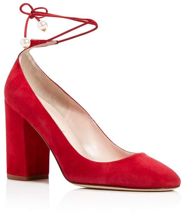 kate spade new york Gena Suede Ankle Wrap Block Heel Pumps