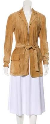 Ungaro Leather Belted Jacket Brown Leather Belted Jacket