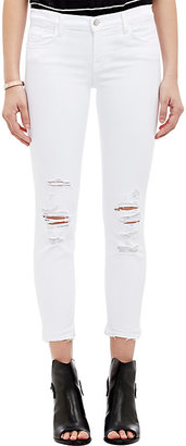 J Brand Women's 9326 Low-Rise Crop Skinny Distressed Jeans $178 thestylecure.com
