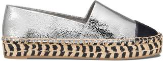 Tory Burch Color-Block Metallic Platform Espadrille