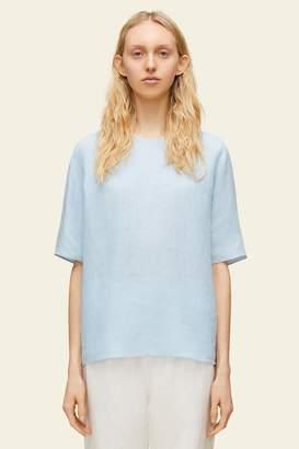 8e33249cc00c5 Mansur Gavriel Linen Short Sleeve Blouse - Sky Blue