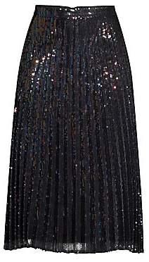 Parker Women's Citrine Iridescent Sequin Pleated Skirt