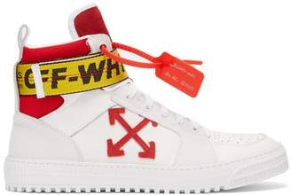 Off-White Logo Belt Strap High Top Leather Trainers - Mens - White Multi