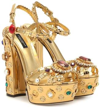 Dolce & Gabbana Embellished leather plateau sandals