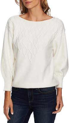 CeCe Stepped Cable Sweater