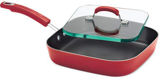 """Rachael Ray Hard Enamel Non-Stick 11"""" Square Deep Griddle with Glass Press"""