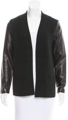 Ralph Lauren Black Label Leather & Wool Cardigan