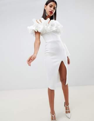 Asos DESIGN premium frill shoulder one sleeve midi dress