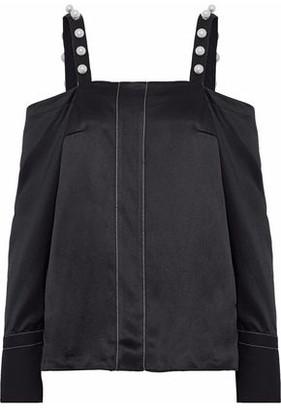 3.1 Phillip Lim Cold-Shoulder Faux Pearl-Embellished Silk-Satin Top
