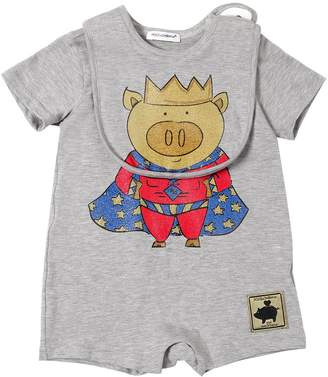 Dolce & Gabbana Pig Print Cotton Jersey Bodysuit & Bib