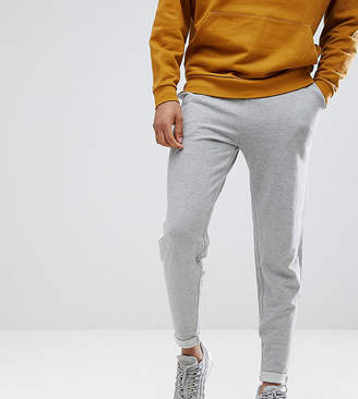Asos DESIGN tall standard joggers with turn up hem in gray marl
