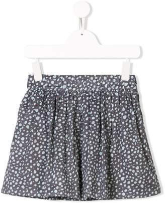 Knot polka-dot flared skirt