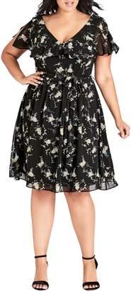 City Chic Ruffled V-Neck Dress