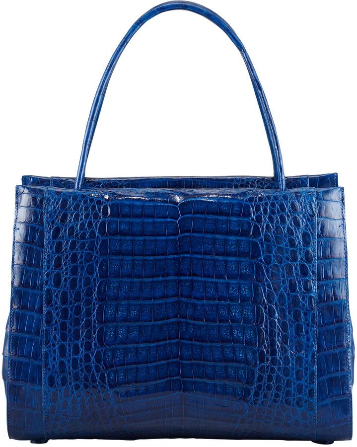 Nancy Gonzalez A-Frame Crocodile Satchel Bag, Medium