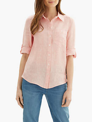 Jaeger Fine Stripe Linen Roll Sleeve Shirt