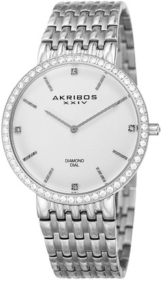 Akribos XXIV Diamond Accent Stainless Steel Watch