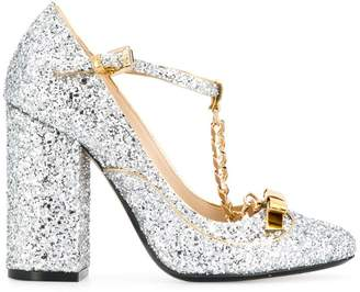 No.21 bow and chain glitter pumps
