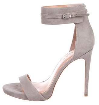 Halston Suede Ankle-Strap Sandals