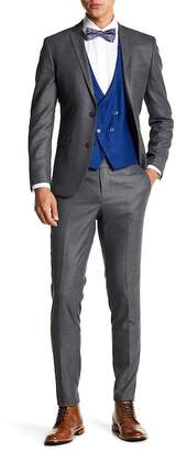 Ron Tomson Gray Windowpane Double Breasted Vest 3-Piece Suit