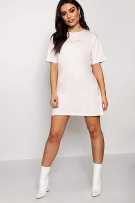 boohoo Babydoll Tonal Embroidered T-Shirt Dress
