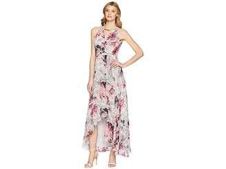 Sangria Printed Halter Maxi Dress Women's Dress