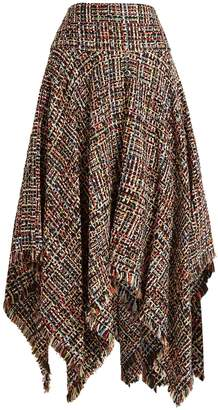 ALEXANDER MCQUEEN Frayed-edge handkerchief-hem tweed midi skirt