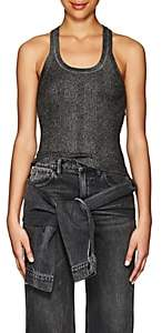 Alexander Wang Women's Metallic Rib-Knit Racerback Tank - Black