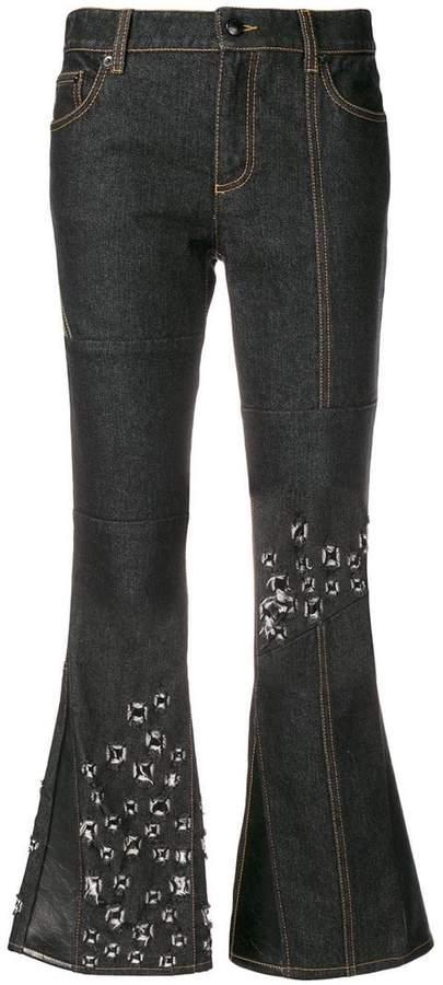 patchwork design distressed jeans