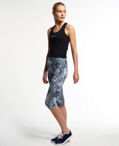 Neue Damen Gym Logo Capri Leggings Mono Tropical Crystal