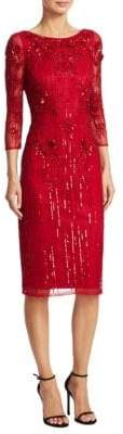 Theia Three-Quarter Sleeve Beaded Dress