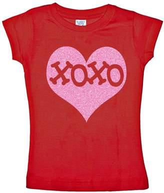 XOXO NanyCrafts Little Girl's Inside Pink Glitter Heart Valentine's Shirts for Girls 11/12