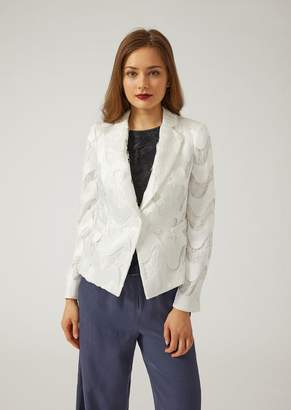 Emporio Armani Macrame Buttoned Jacket With Wave Pattern