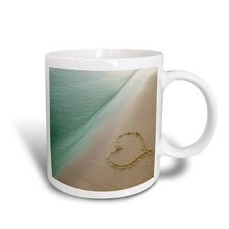 3dRose Heart Shape Symbolizing Love, Heart Carved in Sand on the Beach, Ceramic Mug, 11-ounce