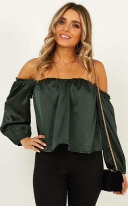 Showpo Court Love top in emerald satin - 6 (XS) Off The Shoulder Tops