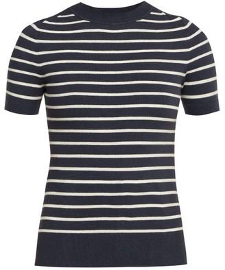 JoosTricot Breton Short Sleeved Cotton Blend Sweater - Womens - Navy White
